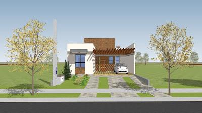 Casa térrea moderna e aconchegante para um terreno de 8 por 25 metros.