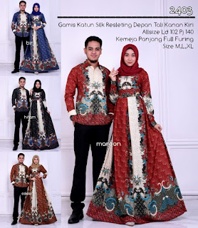 Model Baju Batik Couple 2403 Gamis Muslim