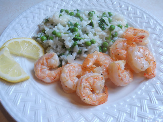 Spring Risotto with Lemon Shrimp