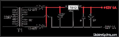 Rangkaian Power Supply 12V Stabil dengan Regulator