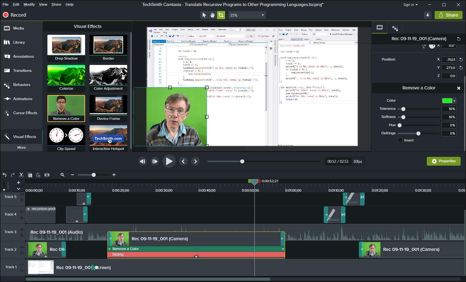 Camtasia Video Editor Screen