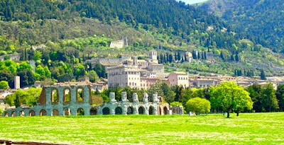 Roman Theatre and Hill Town of Gubbio Umbria Italy