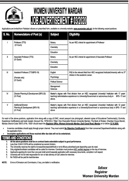Women University Mardan Jobs September 2020