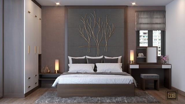 Nội thất phòng ngủ đẹp, hiện đại tinh tế lát sàn gỗ công nghiệp