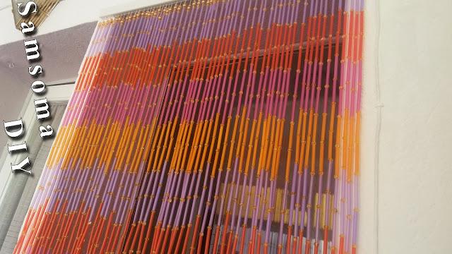 طريقة عمل ستارة من الخرز . عمل ستارة للمطبخ بالخرز . DIY : How to beads curtain . اصنعي بنفسك ستارة بالخرز للمطبخ  . طريقة عمل ستارة من الخرز ومصاصات العصير .