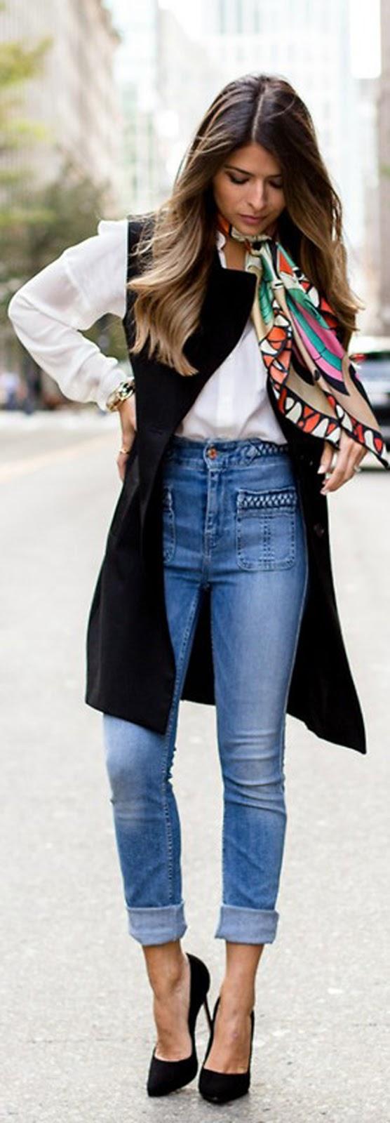 skinny jeans + vest