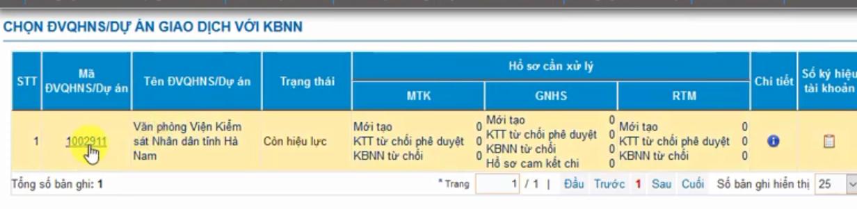 Hình 15 - Chủ tài khoản chọn mã DVQHNS cần thay đổi