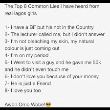 Common Lies Lagos Girls Tell