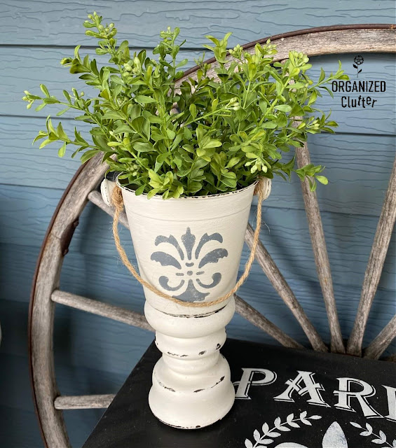 Photo of a DIY white urn