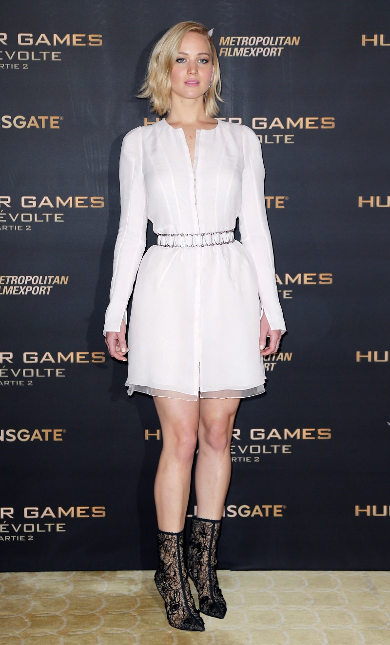Jennifer Lawrence shows off legs at The Hunger Games: Mockingjay 2 Paris premiere