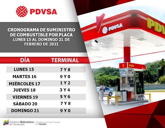 Conozca el cronograma de suministro de combustible esta semana