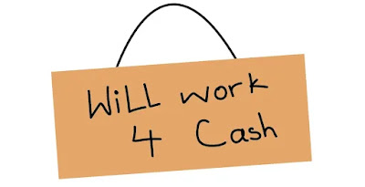 an illustration of a cardboard begging to work for money