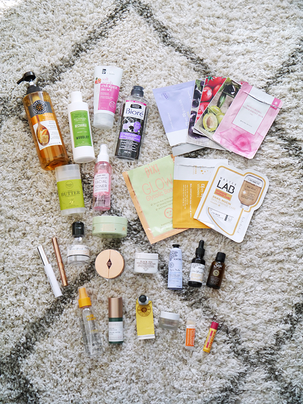 Empty skincare, body care, hair care, and beauty and makeup products
