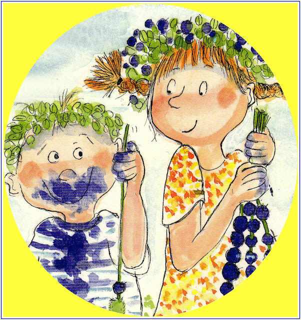 """Virpi Pekkalan postikortista kopioidut tytön ja pojan kasvot ja kädet, joissa """"heinänkorret"""" mustikoiden poimintaan. Tytöllä niistä useampikin täynnä, pojalla yksi tyhjä ja puoli naamaa sinisenä - kuin selittäen, että kyllähän minä, mutta..."""
