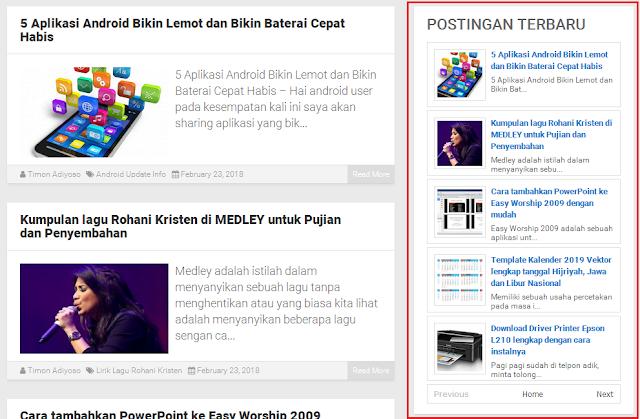 Cara buat Recent Post (Widget Postingan Terbaru) di Blogger dengan gambar
