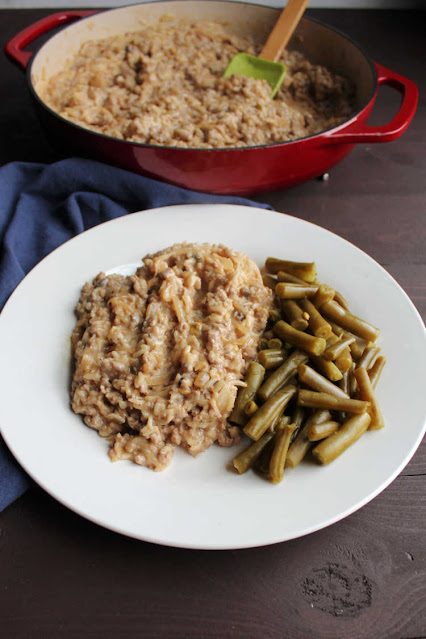 plate of pork chop suey and green beans ready to eat