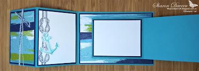 Rhapsody in craft, Double Open Joy Fold Card, Fancy Fold, Sailing Home, Bermuda Bay, Old Worlds Paper 3D EF, Artistry Bloom DSP