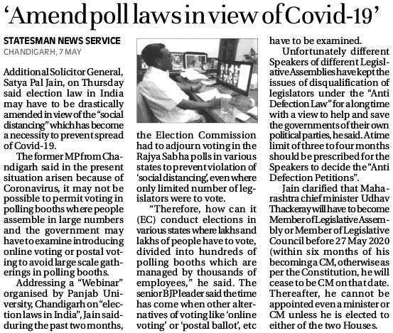 'Amend poll laws in view of Covid-19' - Satya Pal Jain