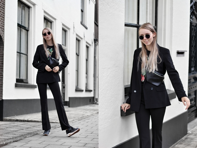 Outfit met zwart pak met Primark boyfriend blazer en My Jewellery pantalon dean Polette zonnebril nederlandse mode blogger