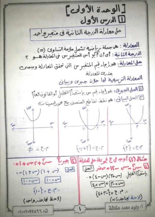 ملزمة جبر وحساب مثلثات للصف الاول الثانوي ترم اول لعام 2021