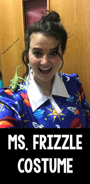 This is the perfect Ms. Frizzle costume to wear for book character day or special events at school.  I definitely channel my inner Frizz from the Magic School Bus when I am wearing this.  My kindergarten kids love this dress!