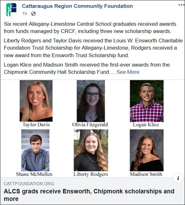 Six recent Allegany-Limestone Central School graduates received awards from funds managed by CRCF