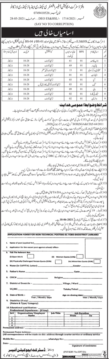 163 Posts Office Of The District Education Elementary Secondary and Higher Secondary Larkana Jobs 2021