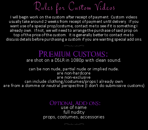 Rules for Custom Videos