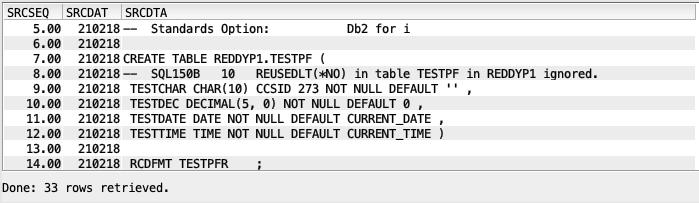 Generated SQL source - IBM i