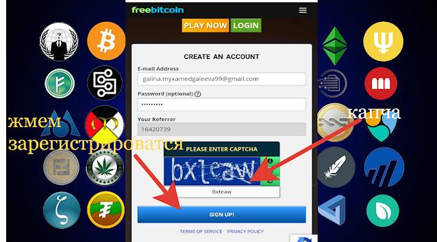 страница регистрации в проекте Freebitcoin