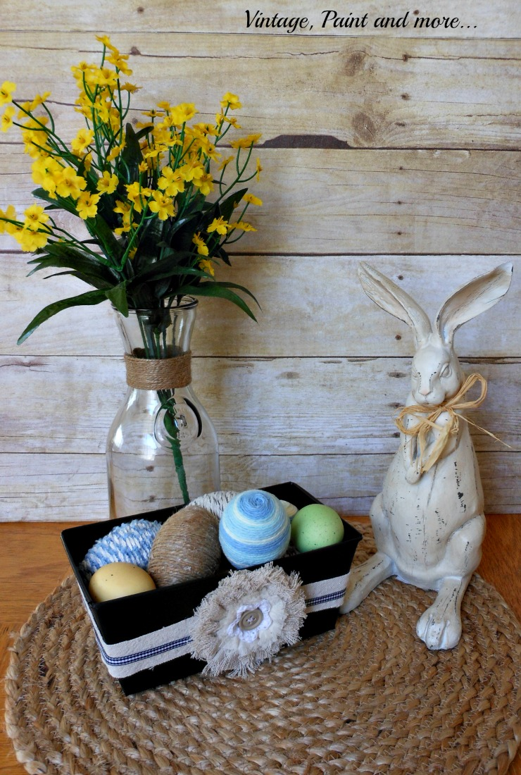Vintage, Paint and more... wrapped eggs, painted tin, twine wrapped milk bottle