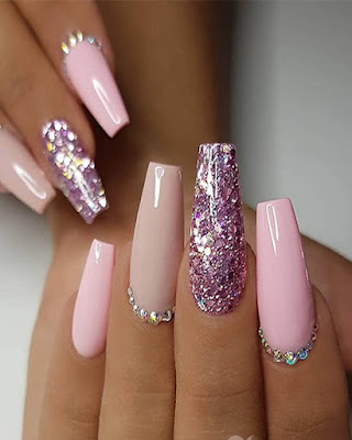 ideas coffin nails acrylic rhinestones pink