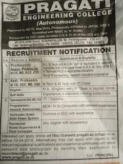 Pragati Engineering College Assistant Professor Jobs