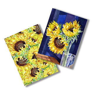 Greeting Cards with Sunflowers painting artist Irina Sztukowski