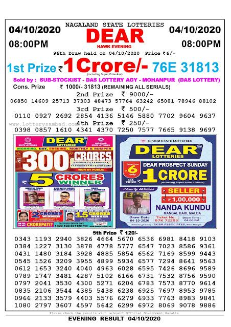 Lottery Sambad Result 04.10.2020 Dear Hawk Evening 8:00 pm