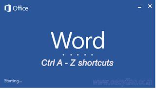 Microsoft Word Ctrl A - Z Shortcuts