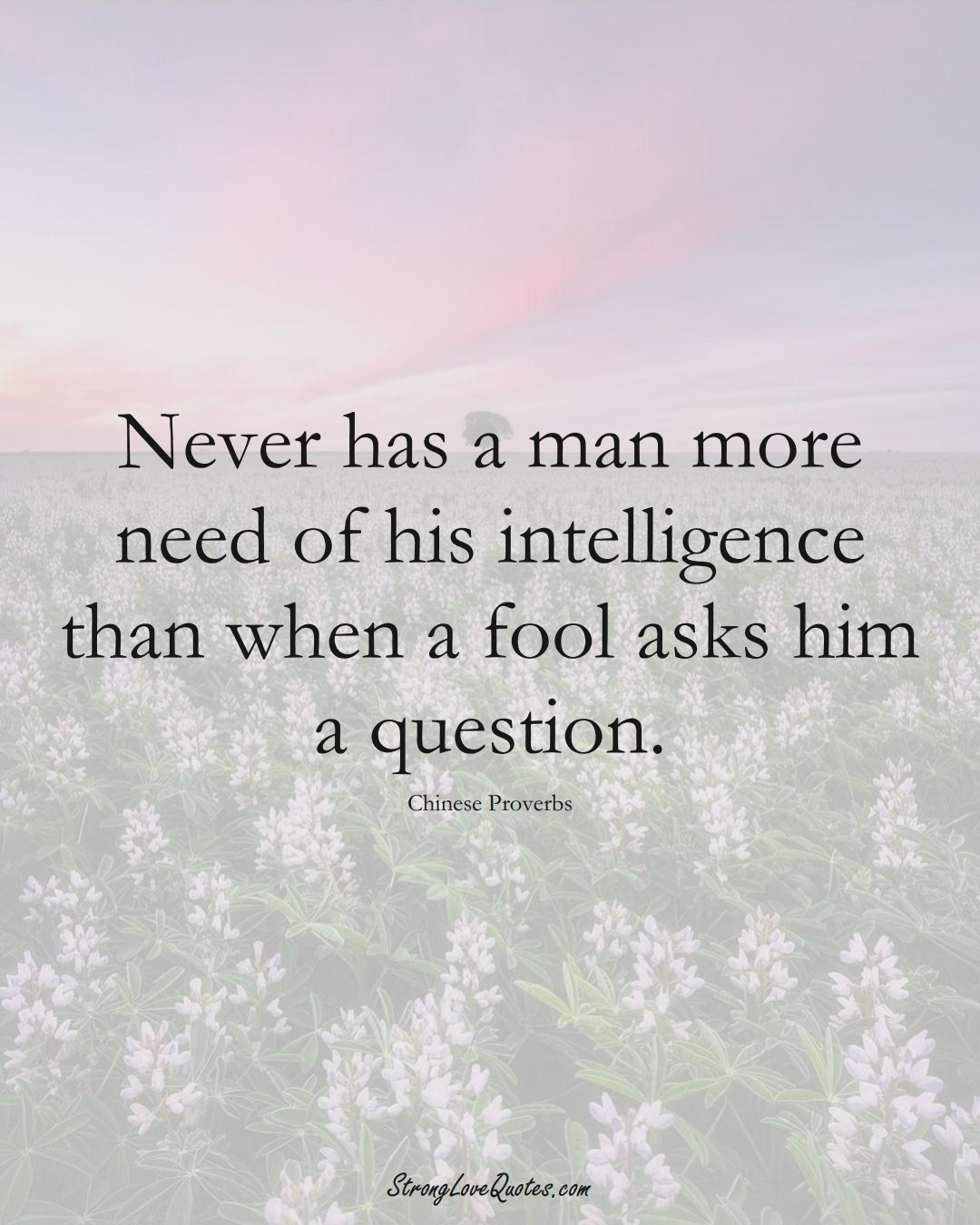 Never has a man more need of his intelligence than when a fool asks him a question. (Chinese Sayings);  #AsianSayings