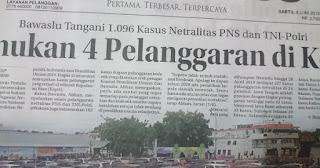 Bawaslu Temukan 1.096 Kasus Netralitas PNS dan TNI-Polri, Berikut Rinciannya