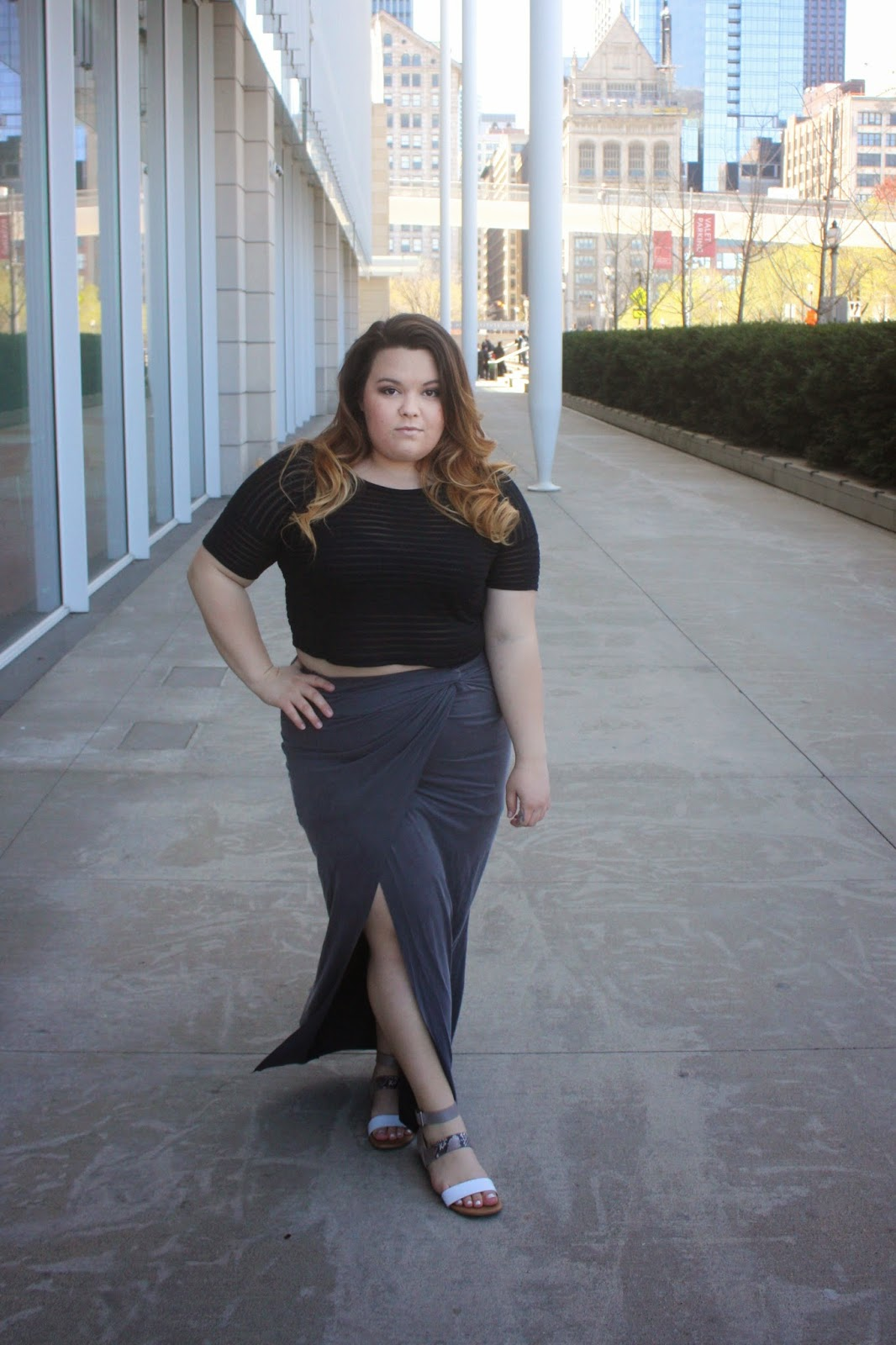 maxi skirt, plus size fashion blogger, curvy maxi skirts, fatshion, curvy girl, natalie craig, natalie in the city, chicago, summer fashion, ombre, forever 21 plus, cynthia rowley, franco sarto, summer shoes, fashion blogger