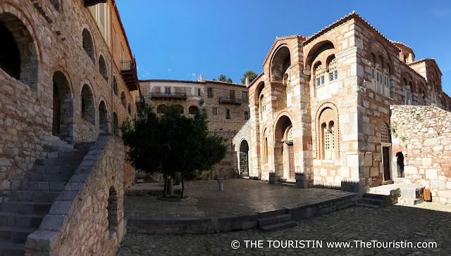 The Courtyard of Unesco site Osiou Louka in Greece