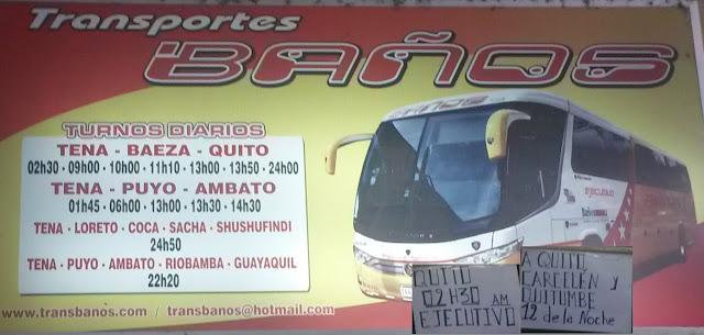 Cooperativa de Transportes Baños en la ciudad de Tena