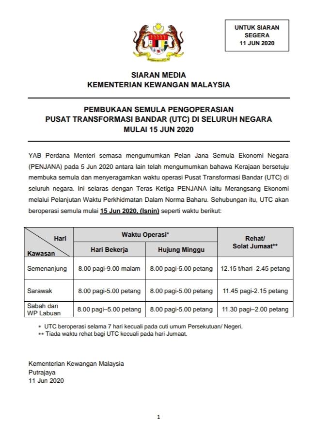 waktu operasi UTC seluruh Malaysia