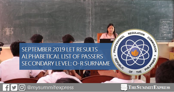 O-R Passers LET Result: Secondary Level September 2019