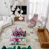 Sala contemporânea e elegante neutra com pontos de cor + lareira e tv!