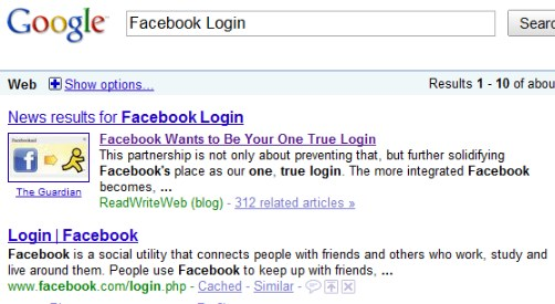 Facebook login in google search