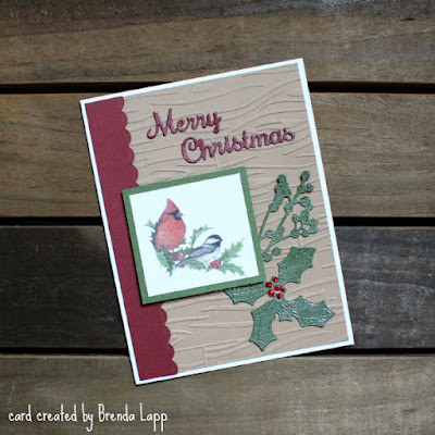 card created with image cut from an envelope