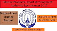 Marine Products Export Development Authority Recruitment 2017– Trainee Analyst