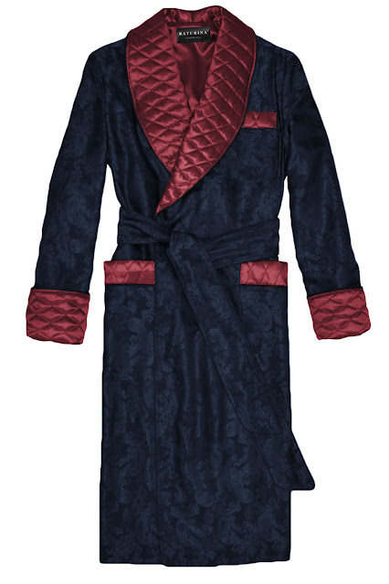 Men's paisley silk robe dressing gown dark blue burgundy robes quilted smoking jacket