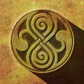 Celtic knot looking seal of Rassilon carved in stone
