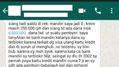 Blokir Sepihak Bank Mandiri (52) - Kartu Kredit Cuma 2 Jt jadi 56 Jt Diblokir 6.850.000